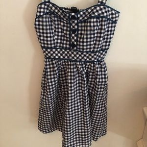 Forever 21 Navy and White Gingham Cowgirl Dress